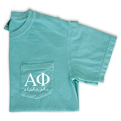 Alpha Phi Script Letters Pocket T-Shirt | Amazon.com