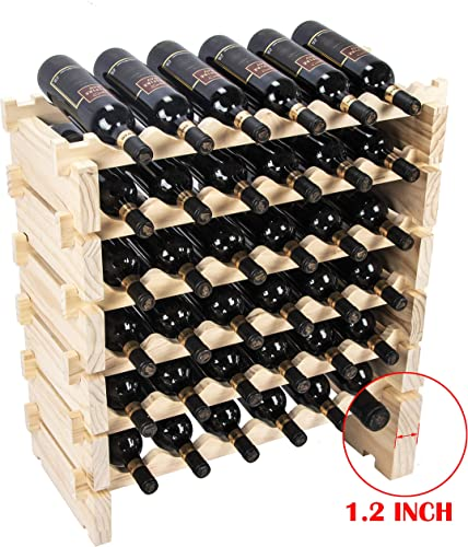 Beyond Your Thoughts Wine Rack Pine Wood 36 Bottle Capacity Stackable Storage Stand Display Shelves