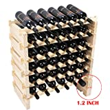 Beyond Your Thoughts Wine Rack Pine Wood 36 Bottle Capacity Stackable Storage Stand Display Shelves, Wobble-Free, Thicker Wood, (36 Bottle Capacity, 6 Rows x 6)