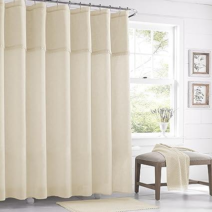 Five Queens Court Sonia Semi Sheer Crochet Trim Shower Curtain Shabby Chic Ivory