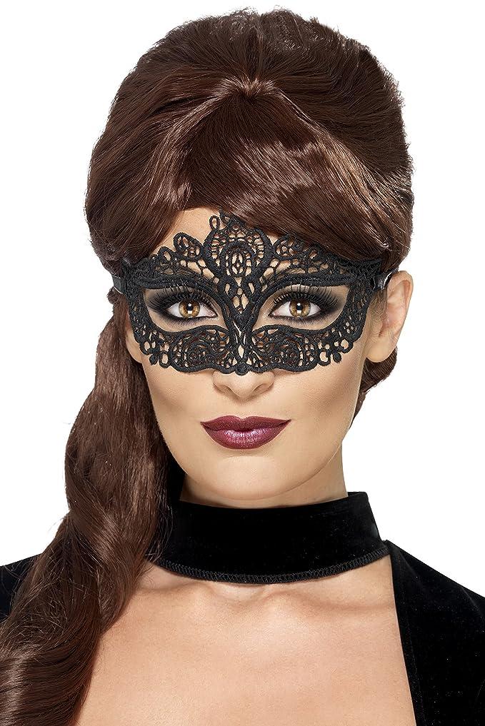 Smiffys Déguisement Adulte, Masque filigrane en dentelle brodée, Couleur: Noir, 44282