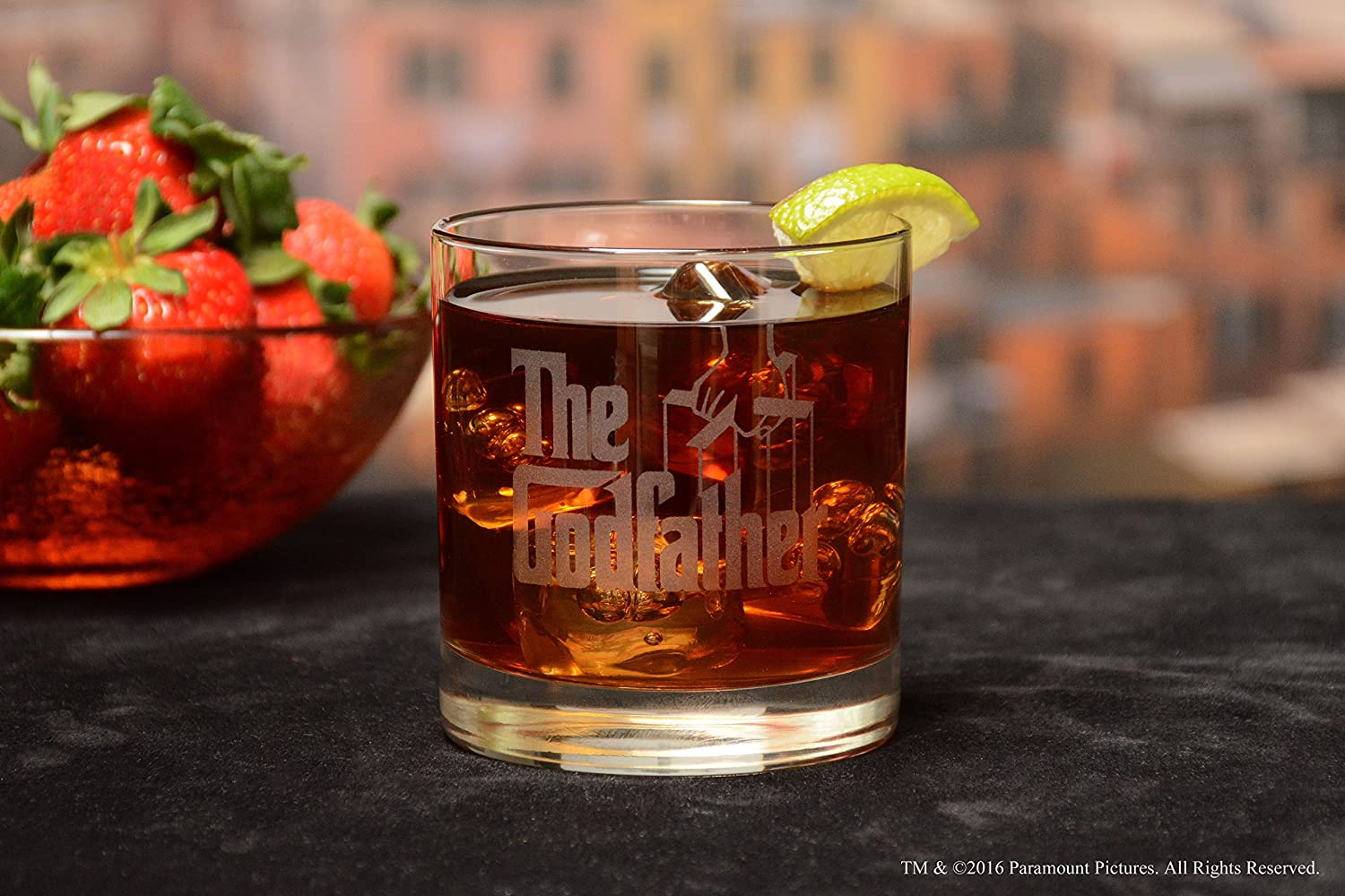 Movies On Glass Premium Etched Godfather Movie Engraved Logo Whiskey Glass Godparent Gift 11 Ounces GF-GODFATHER-ROCKS