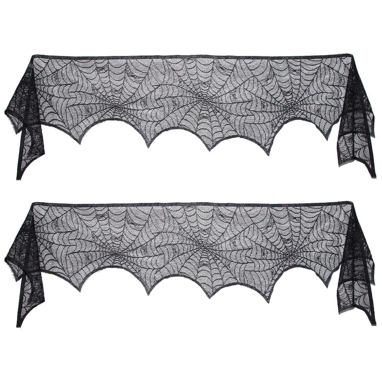 Scafiv 2 Pack Black Lace Spiderweb Cobweb Mantel Fireplace Scarf Cover Decoration Door Window Party Supplie, 18 x 96 Inch