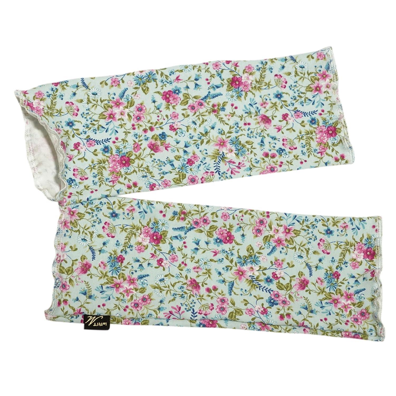18DSTU064 | Leichte Damen Rüschen-Stulpen Blütentraum mit romantischem Blumenmuster und schlichtem Hellblau | Label brit-M