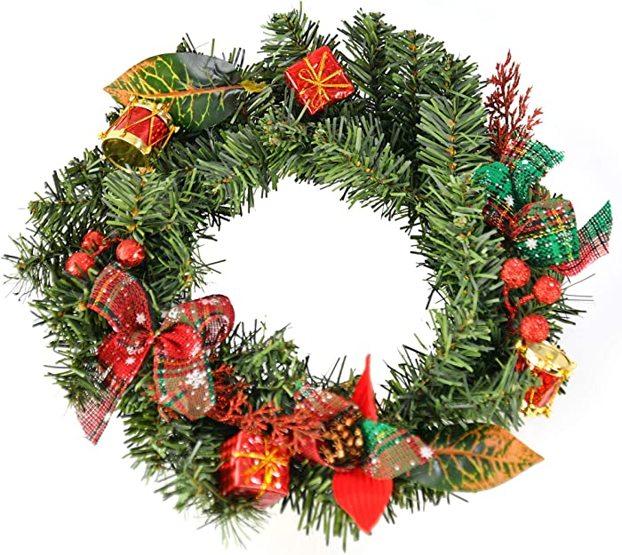 Home-X Front Door Christmas Wreath with Shimmering Bows and Ornaments, for Home Wall, Window, Staircase, Door Décor, Outdoor Winter Home Decorations-12""