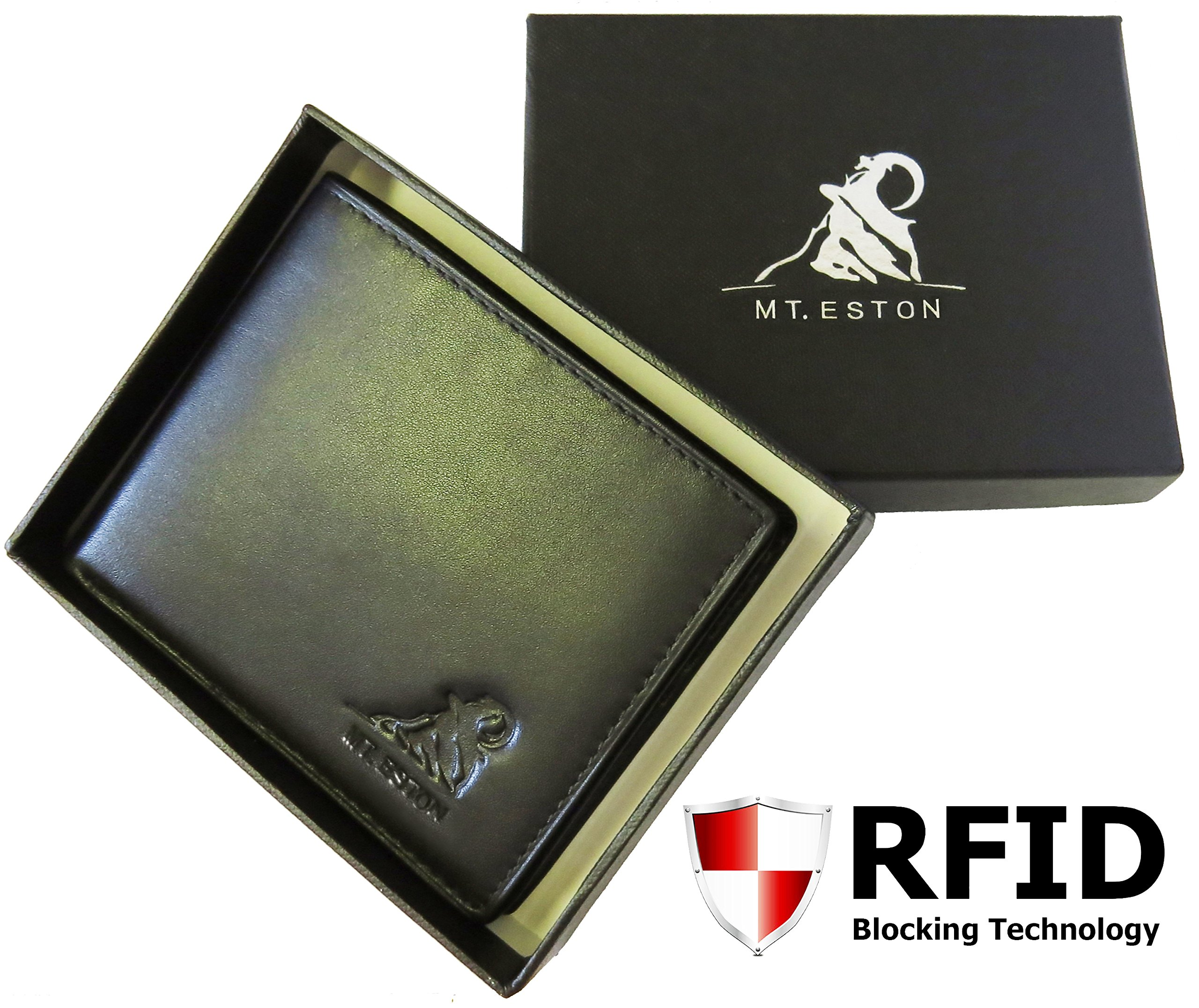 Mt. Eston RFID Blocking Trifold Bifold Mens Leather Wallet, 18 Pocket Extra Capacity, High-End Build, Gift Box for Men (Previously Mt. Everest) by Mt. Everest (Image #2)