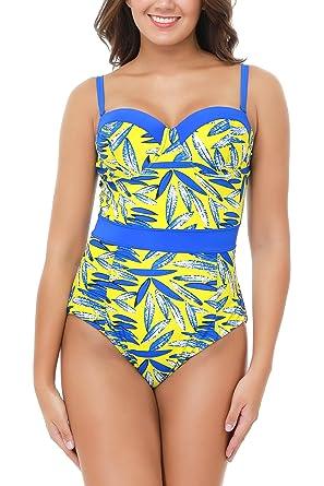 ffd469863b842 Women's Plus Size Pro Athletic Bathing Suit Blouson Bandeau One Piece  Swimsuits Off Shoulder High Cut