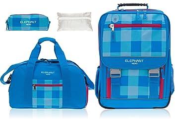 fc7230bc5c67c Elephant 4 Teile Set Hero 2 Schulrucksack + Sporttasche + Mäppchen Zipper +  Regenschutz 12364 (