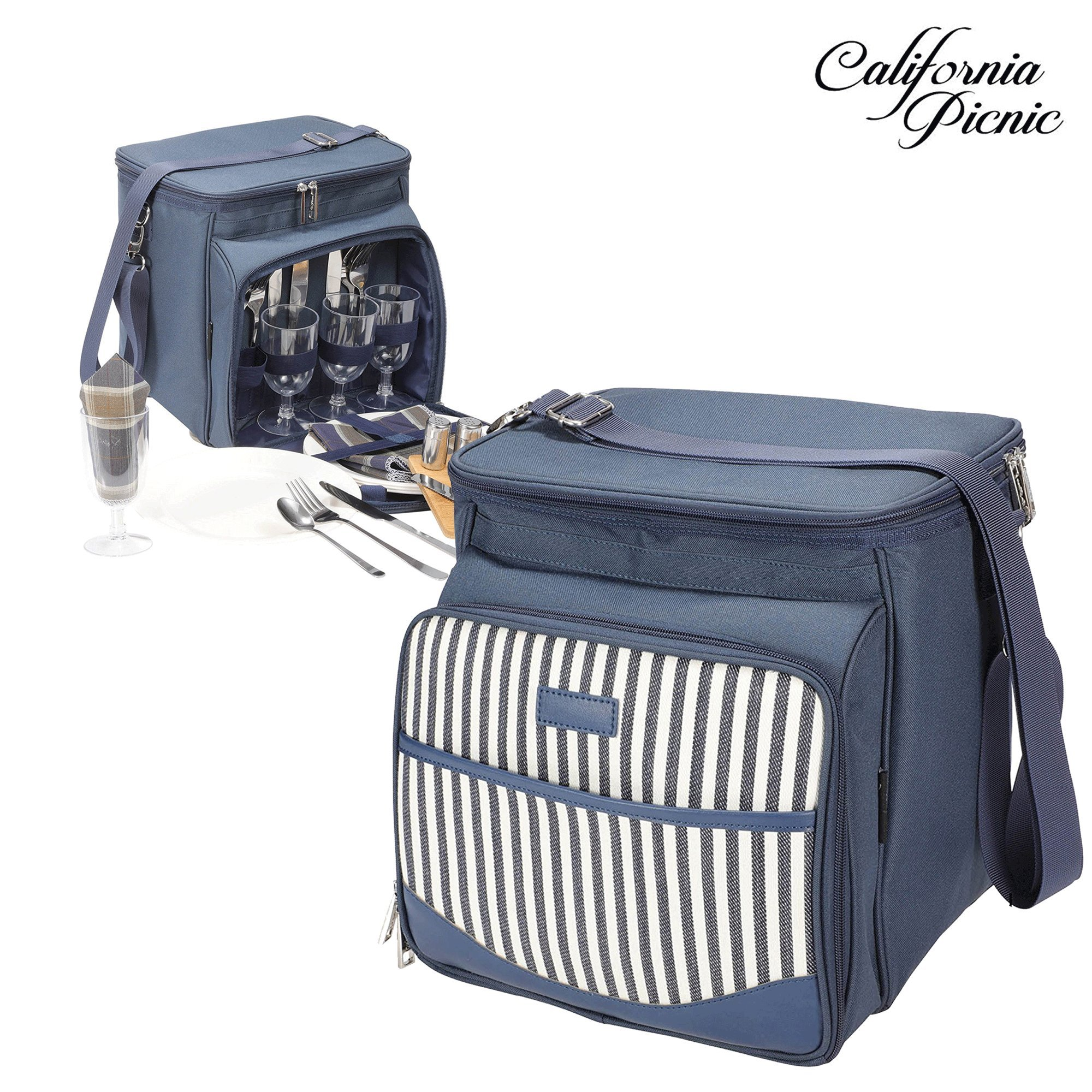 Picnic Basket Tote | Picnic Shoulder Bag Set | Stylish All-in-One Portable Picnic Bag for 4 with Complete Cutlery Set | Salt/Pepper Shakers | Cheese Board | Cooler Bag for Camping | Insulated Tote Bag by CALIFORNIA PICNIC