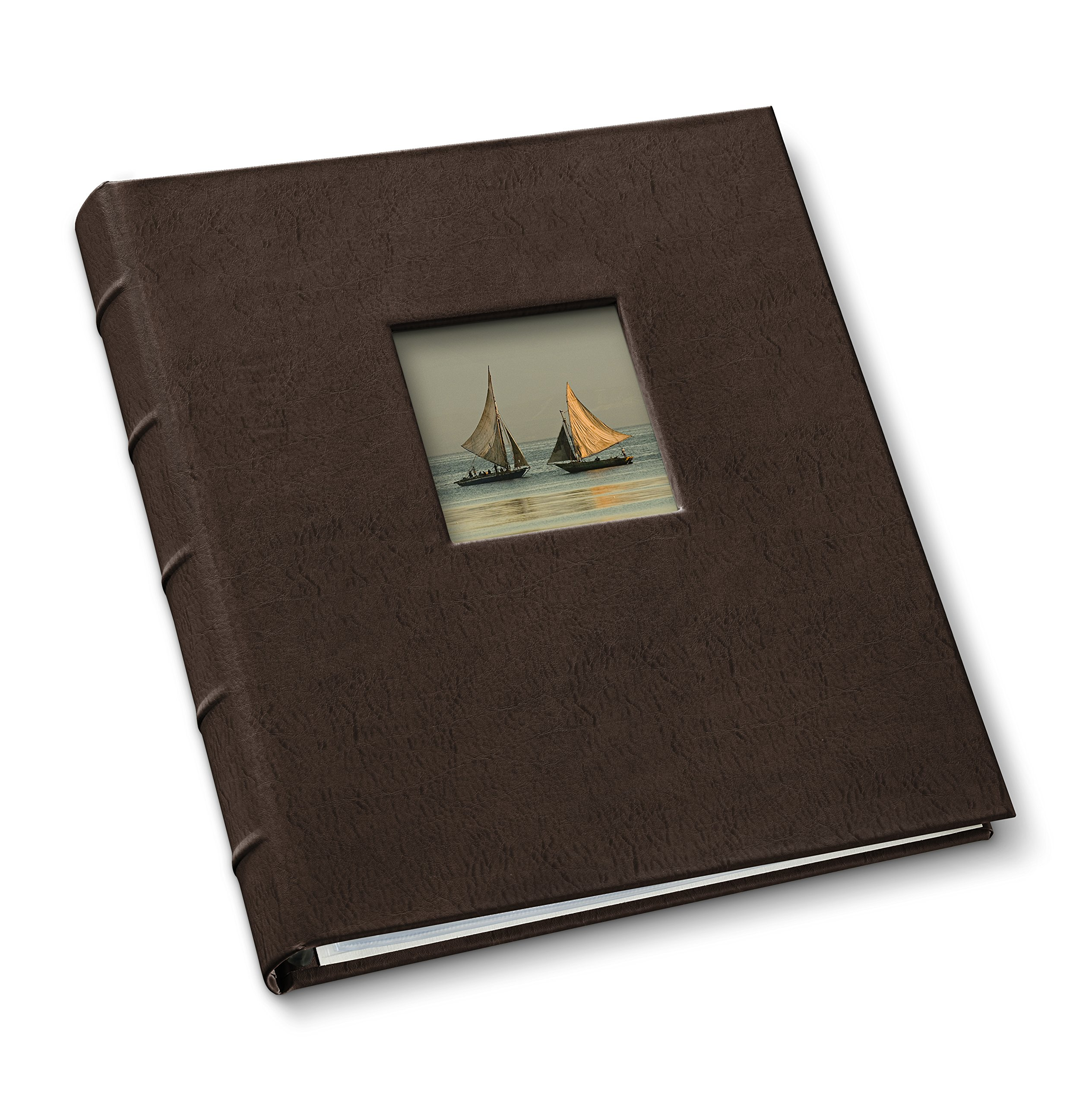 Gallery Leather Presentation Binder 1.25'' With Window and Hubbed Spine Freeport Mocha