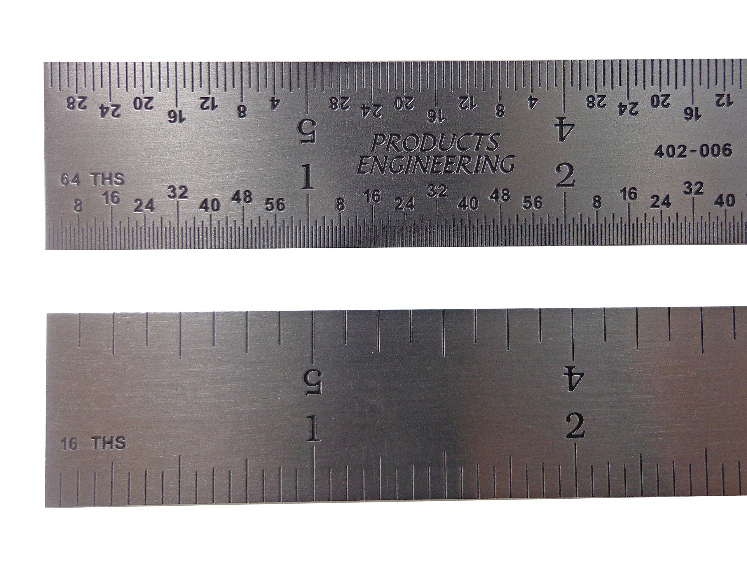 PEC Tools USA 12'' Rigid Stainless Steel 4R Machinist ruler/rule 1/64, 1/32, 1/8 1/16