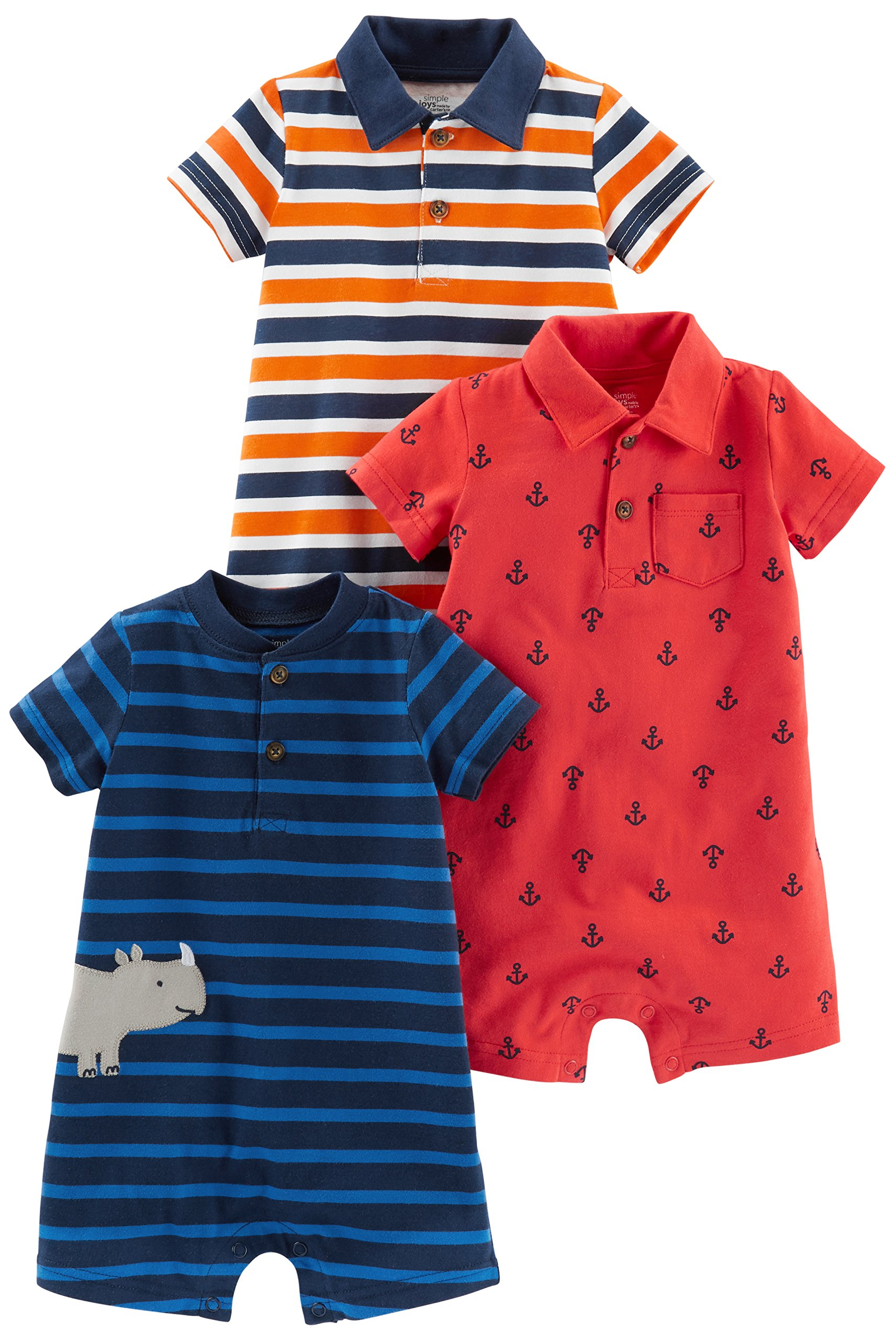 Simple Joys by Carter's Baby Boys' 3-Pack Rompers, Orange Blue Stripe/Navy Stripe/Red Anchors, 12 Months