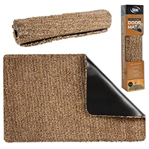 Kaluns Door Mat - Front Door Welcome Rug Indoor Doormat - Super Absorbant Mud Mats - 28x18 Home Entry Floor Mat, Non Slip PVC Waterproof Backing, Shoe Mat for Entryway - Machine Washable, Brownish/Tan