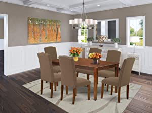 """East West Furniture 7Pc Rectangle 60"""" Dining Table And 6 Parson Chair With Mahogany Leg And Linen Fabric Dark Coffee, 7"""