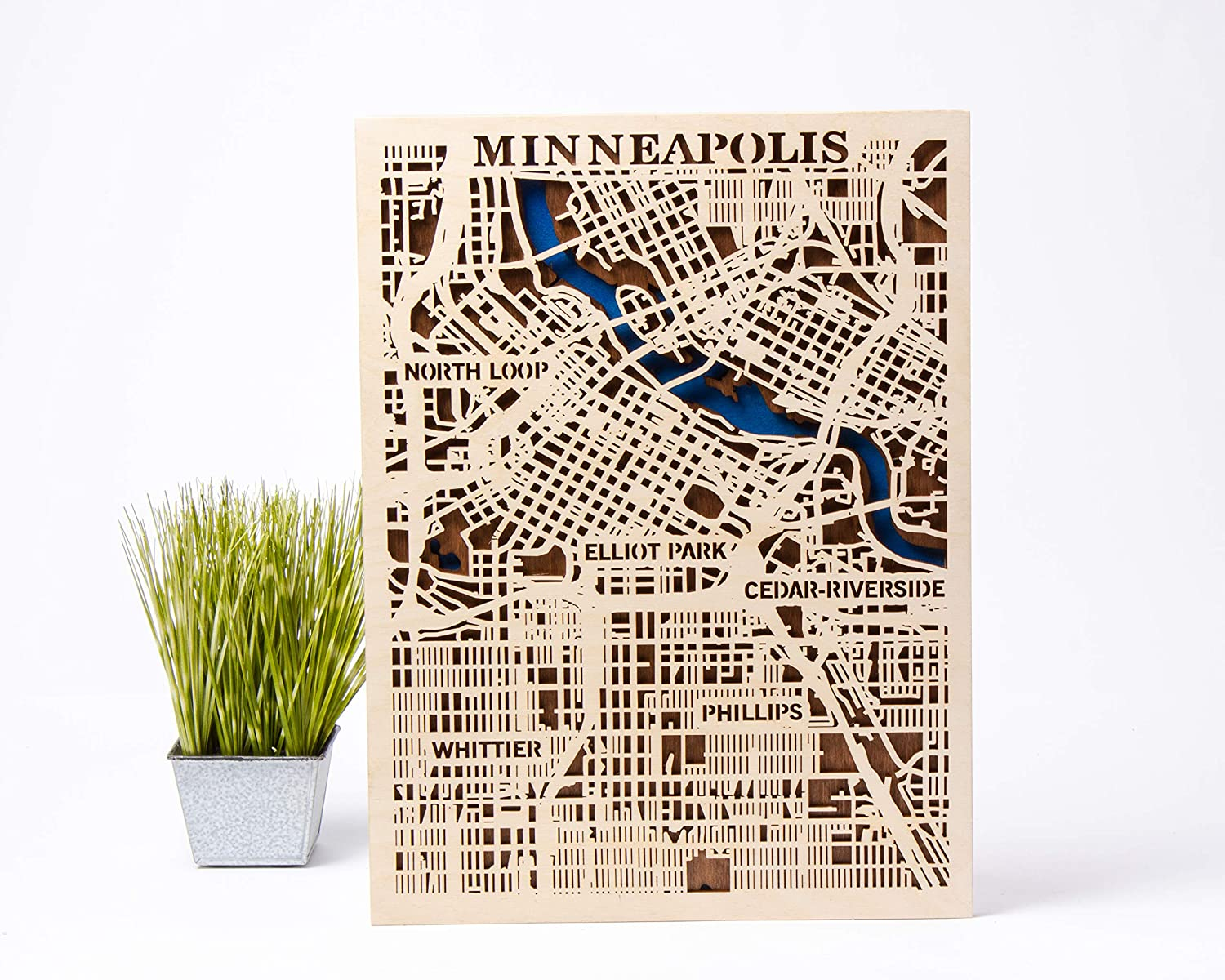 Minneapolis Wooden Map Xmas Gift for Girl Small Scale Map Gift Birthday Gift for Man 3D Wooden City Map USA Wall Art Minneapolis Wooden Decor City Wooden Map Minneapolis 3D Wooden Map (Large)