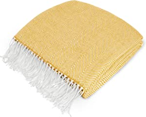 PAVILIA Herringbone Blanket Throw with Fringe | Faux Cashmere Knitted Throw with Tassels for Couch Bed | Decorative Farmhouse Soft Lightweight Plush Cozy | Mustard Yellow, 50x60