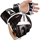 "THROWDOWN ""Freedom Fighter"" 4oz MMA Gloves - Black and White - Full Ballistic Leather Technology - High Shock Absorbency - Quick Evaporation"