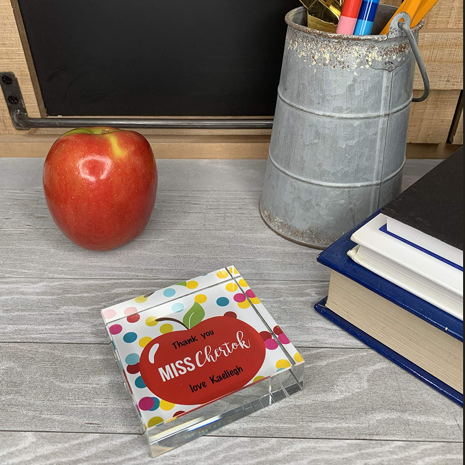 Personalized Teacher Appreciation Crystal Paperweight with Gift Box Apple /& Spots