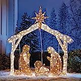 BrylaneHome Crystal Splendor Outdoor Scenes, Nativity Scene