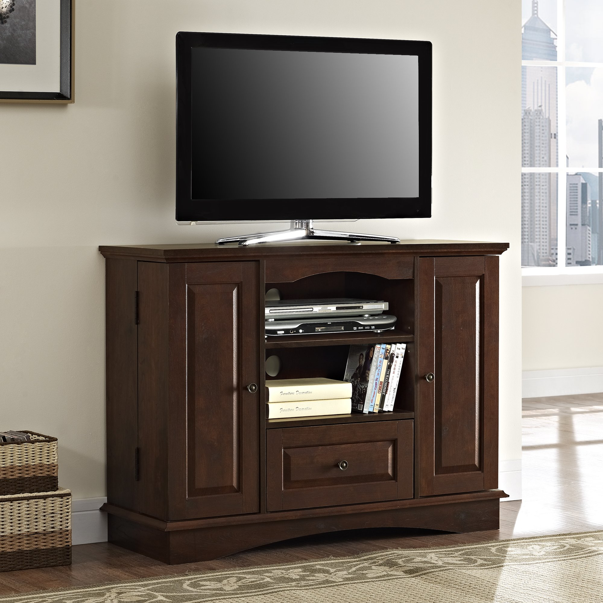 Walker Edison 42'' Highboy Style Wood TV Stand Console, Brown