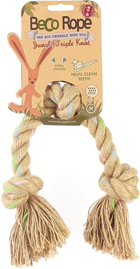 M Double Knot Beco Rope Natural Hemp Strong and Durable Tug Rope Toy for Dogs