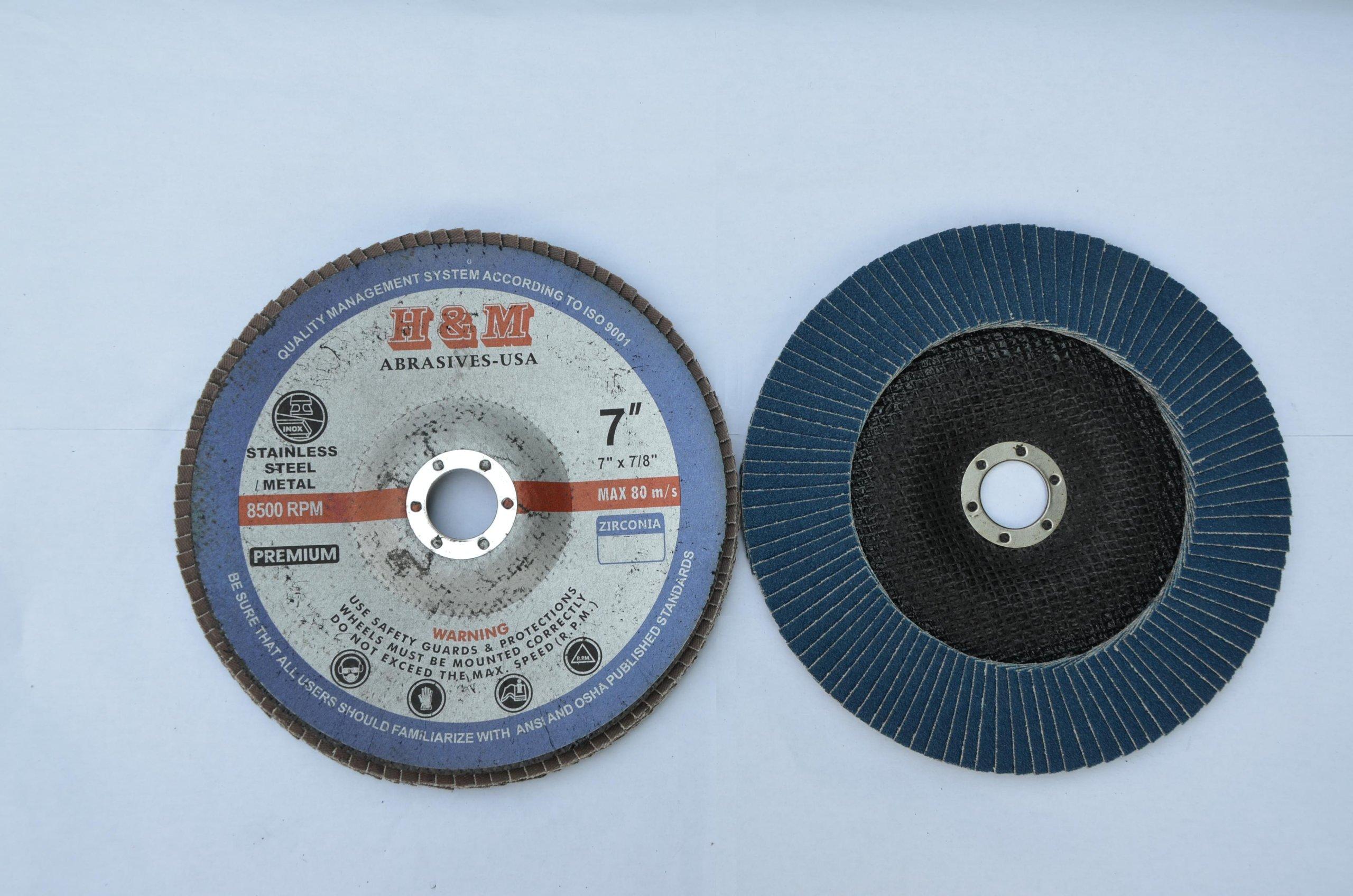 Premium FLAP DISCS 7'' x 7/8'' Zirconia 120 grit Grinding Wheel grinder tool - 5pcs Pack