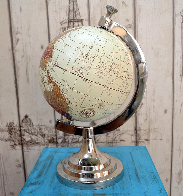 Replica Antique World Map Globe Retro Style Nickel Plated Decorative Desktop Handmade
