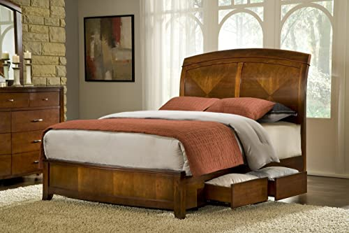 Roundhill Furniture Isola Louis Philippe Style Wood Sleigh Bed, Queen, Cherry Finish