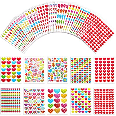 Jovitec 50 Sheets Heart Stickers Valentines Heart Adhesive Sticker Colorful Heart Scrap Booking Stickers for Cards, Art, Craft Project and Gift Embellishment: Toys & Games