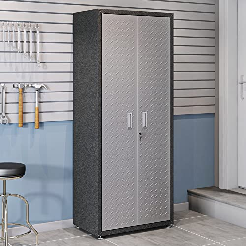 Manhattan Comfort Fortress Collection Modern Designed Durable Tall Storage Standing Garage Cabinet Great For Tools and Supplies, Stainless Steel