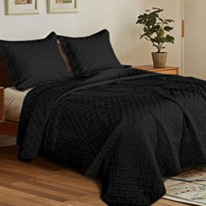 NTBAY Full/Queen 3 Piece (1 Quilt and 2 Shams) Washed Quilt Set, Soft and Lightweight Microfiber Coverlet Modern Style Basket Weave Pattern Quilted Bedspread Set, 90 x 96 Inches, Black
