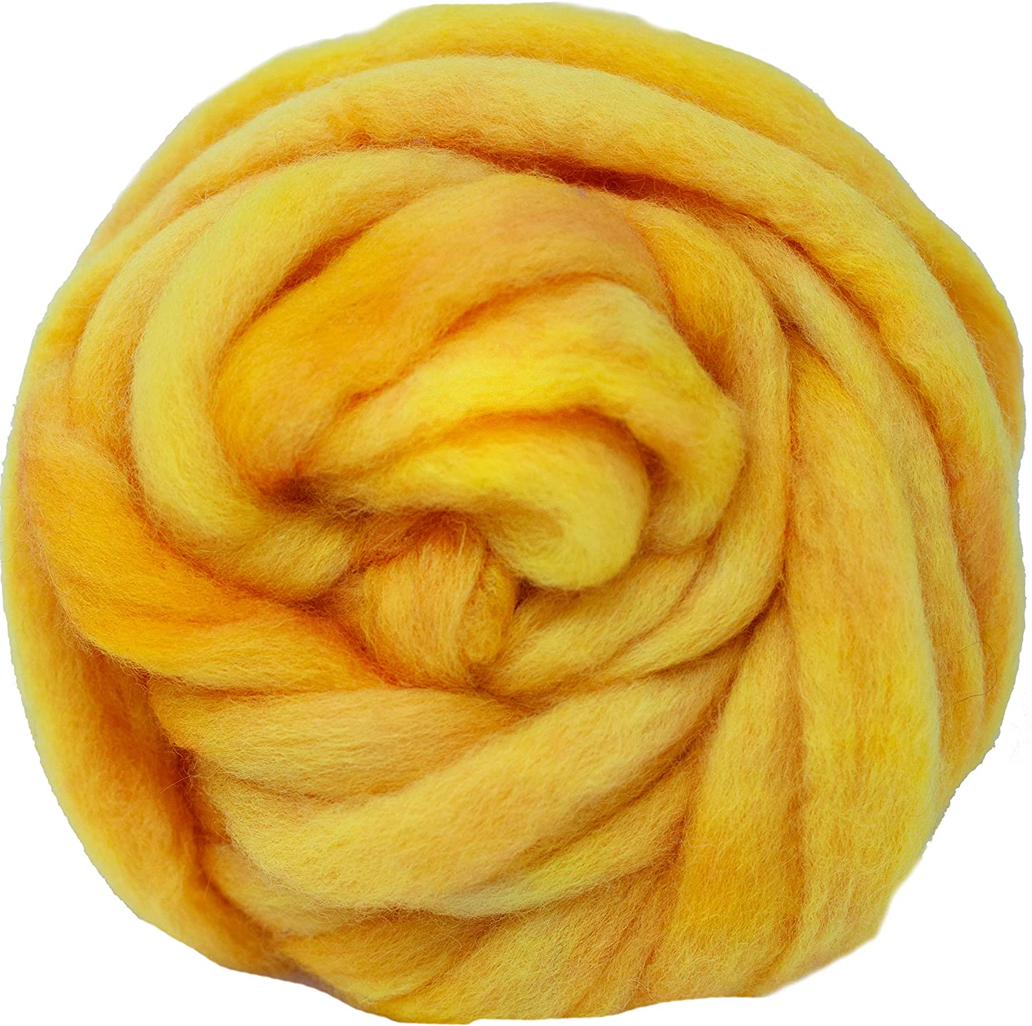 Old Gold Artisanal Craft Fiber ideal for Felting Super Soft BFL Combed Top Pre-Drafted for Easy Hand Spinning Wall Hangings and Embellishments 4 Ounce Weaving Wool Roving Hand Dyed