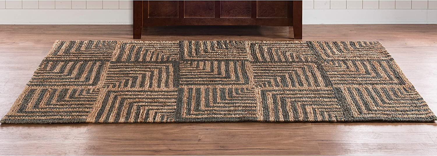 Linon Aspire Collection Wool Lazer Blue Yellow Synthetic Rugs 2x3 Off//White