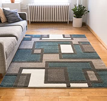 Uptown Squares Blue Grey Modern Geometric Comfy Casual Hand Carved Area Rug 5x7 5