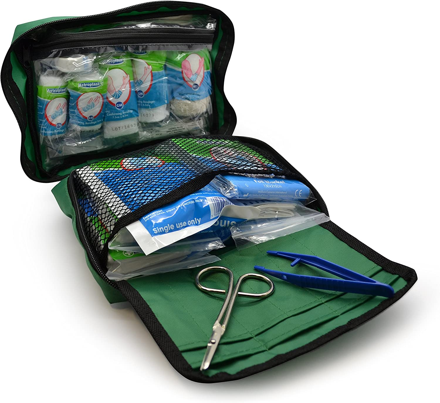 Travel Includes Eyewash 96 Piece Premium First Aid Kit Bag Car 2 x Cold Caravan Workplace Office Ice Packs and Emergency Blanket for Home