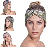 OSATTIA 4 Pack Women Boho Headband Floral Style Knot Bohemian Hairwrap Flower Printing Twisted Criss Cross Stretchy Hairband