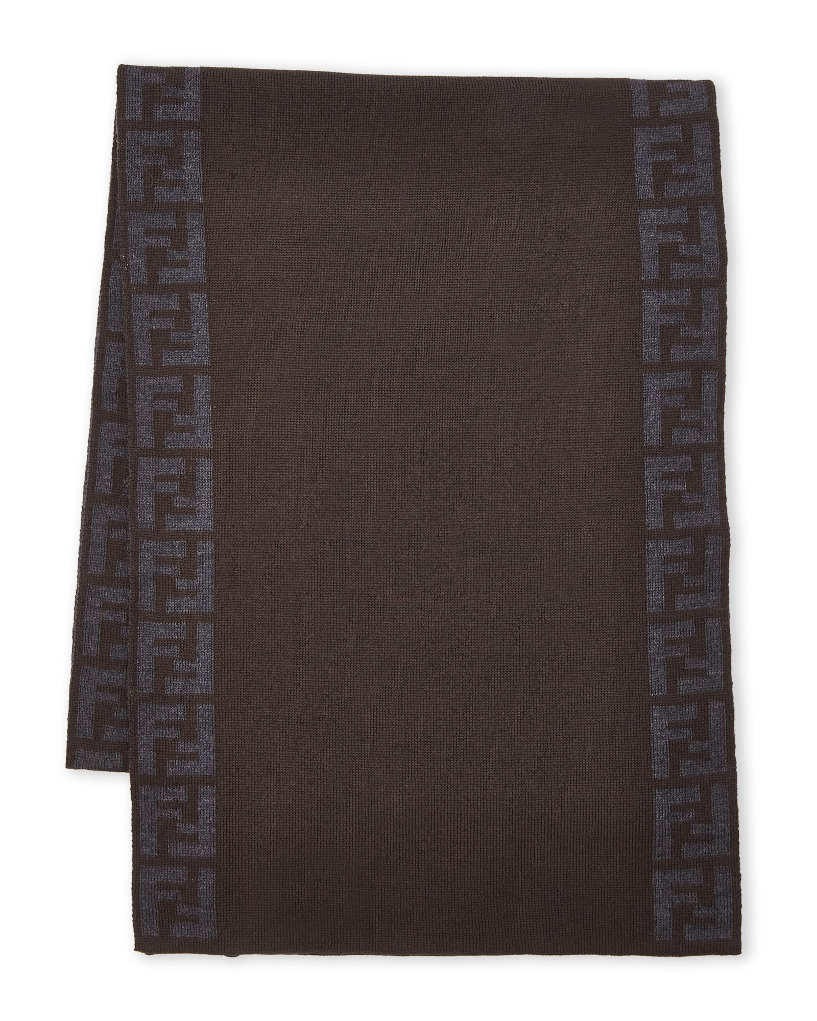 Fendi Knit Monogram Wool Scarf Zucca Stripe, T'Moro Brown
