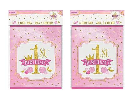 Amazon.com: 2 juego de 8 unique industries rosa y oro niñas ...
