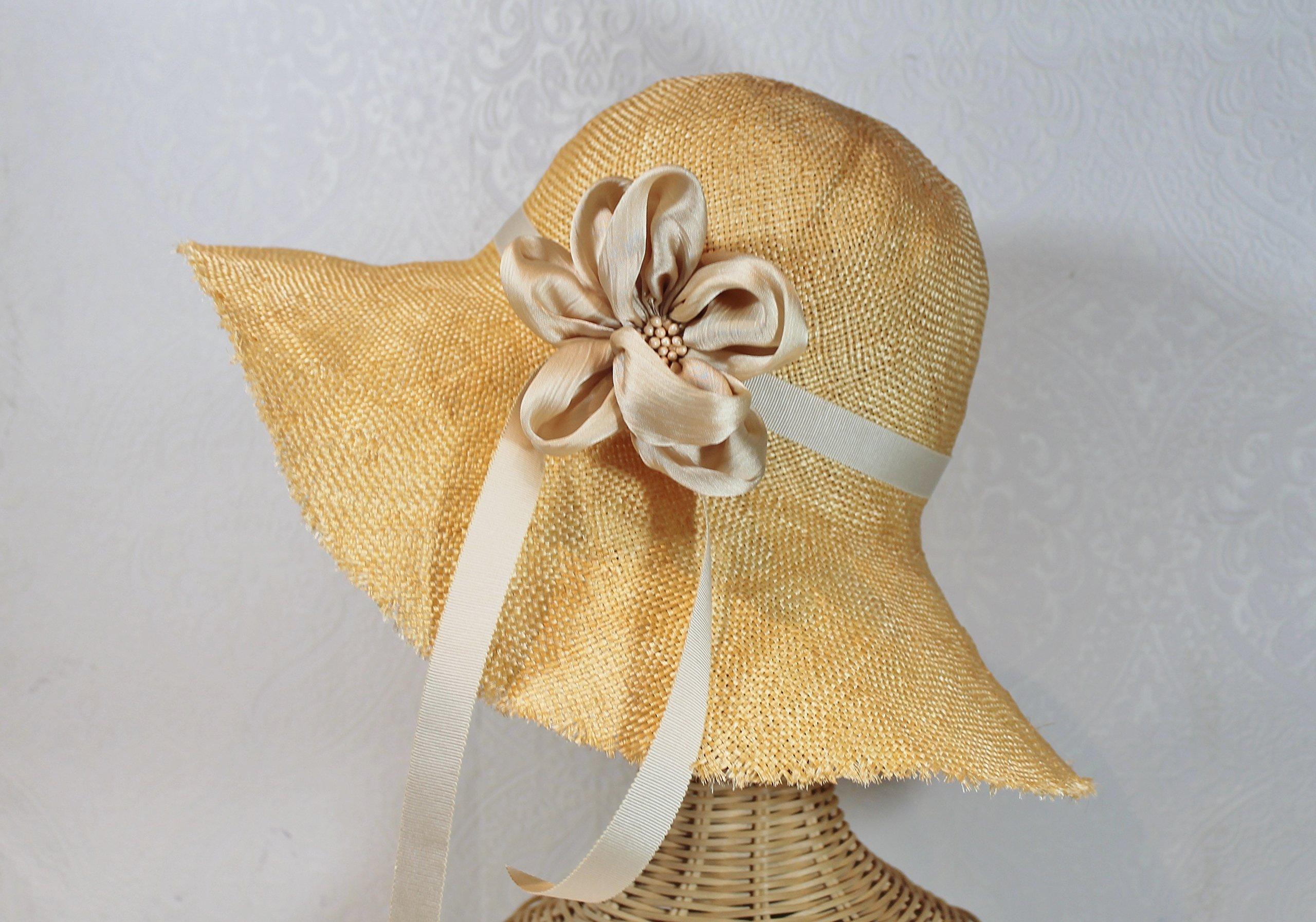 Lyla Frayed Edge Straw Derby Sunhat in Marigold Yellow