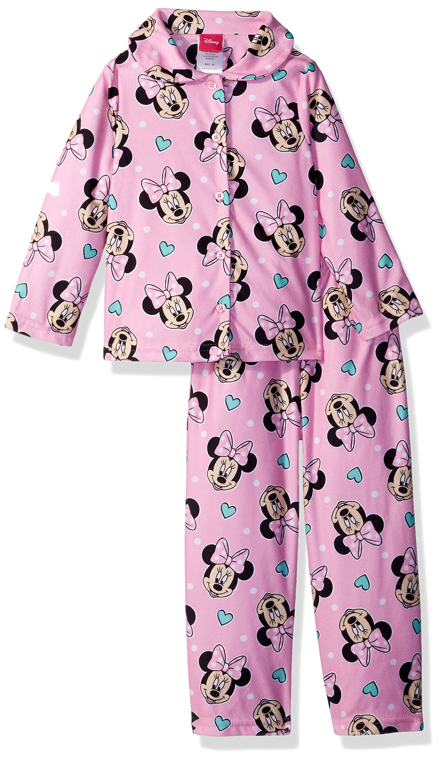 Disney Little Girls' Minnie Mouse 2-Piece Pajama Coat Set, Pink, 6 by Disney (Image #1)