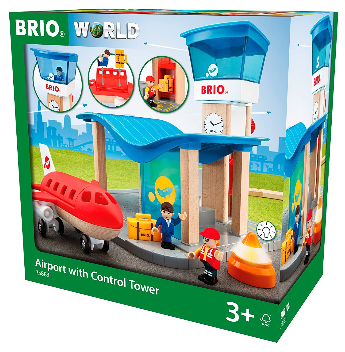 Brio World 33883 Airport With Control Tower Wooden Train Set Accessory Compatible With All Wooden Train Sets