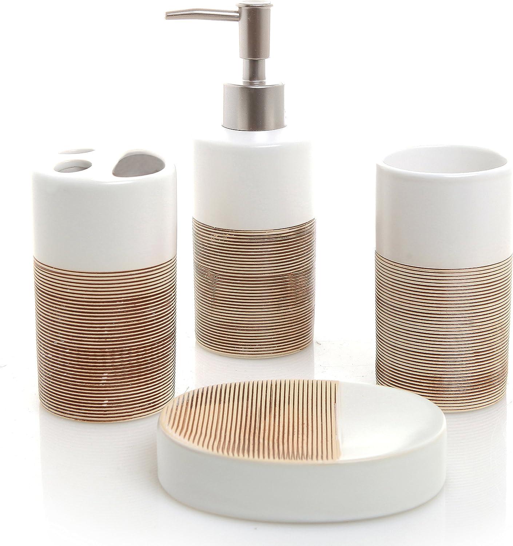 MyGift Deluxe 4 Piece White & Beige Ceramic Bathroom Set w/Soap Dispenser, Toothbrush Holder, Tumbler & Soap Dish: Home & Kitchen