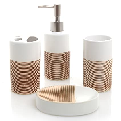 . MyGift Deluxe 4 Piece White   Beige Ceramic Bathroom Set w Soap Dispenser   Toothbrush Holder  Tumbler   Soap Dish