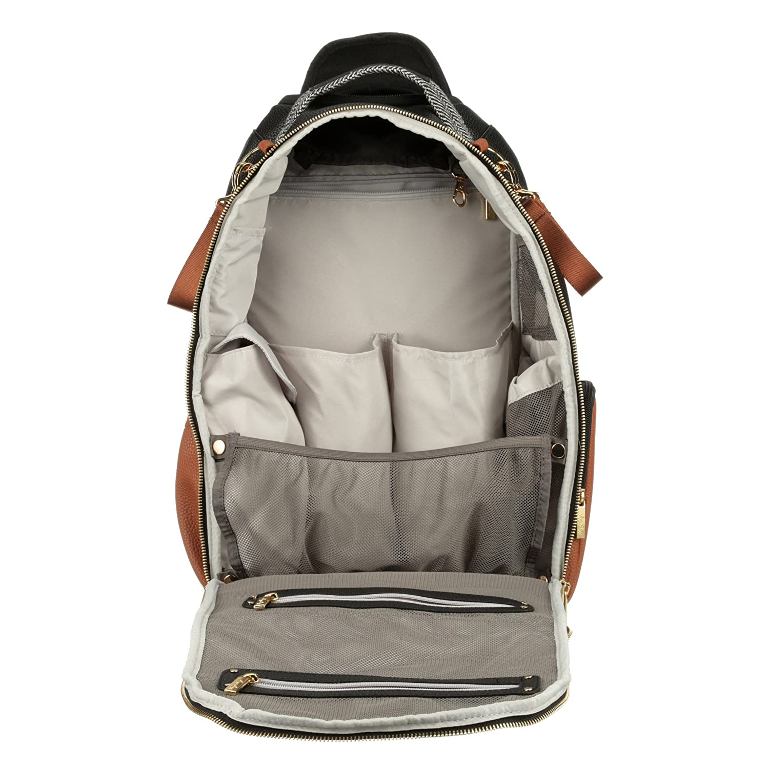 Itzy Ritzy Diaper Bag Backpack Large Capacity Boss Backpack Diaper Bag Featuring Bottle Pockets Changing Pad Stroller Clips and Comfortable Backpack Straps Taupe Herringbone