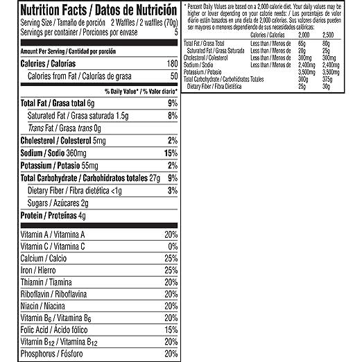 frozen waffles nutrition facts
