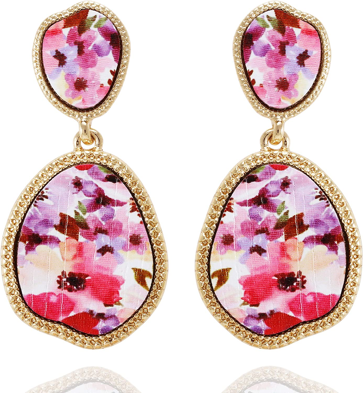 Vintage Flower Triangle Pendant Earrings YellowTurquoise Stone Statement Earrings Bohemian Geometric Earrings Drop Earrings For Women