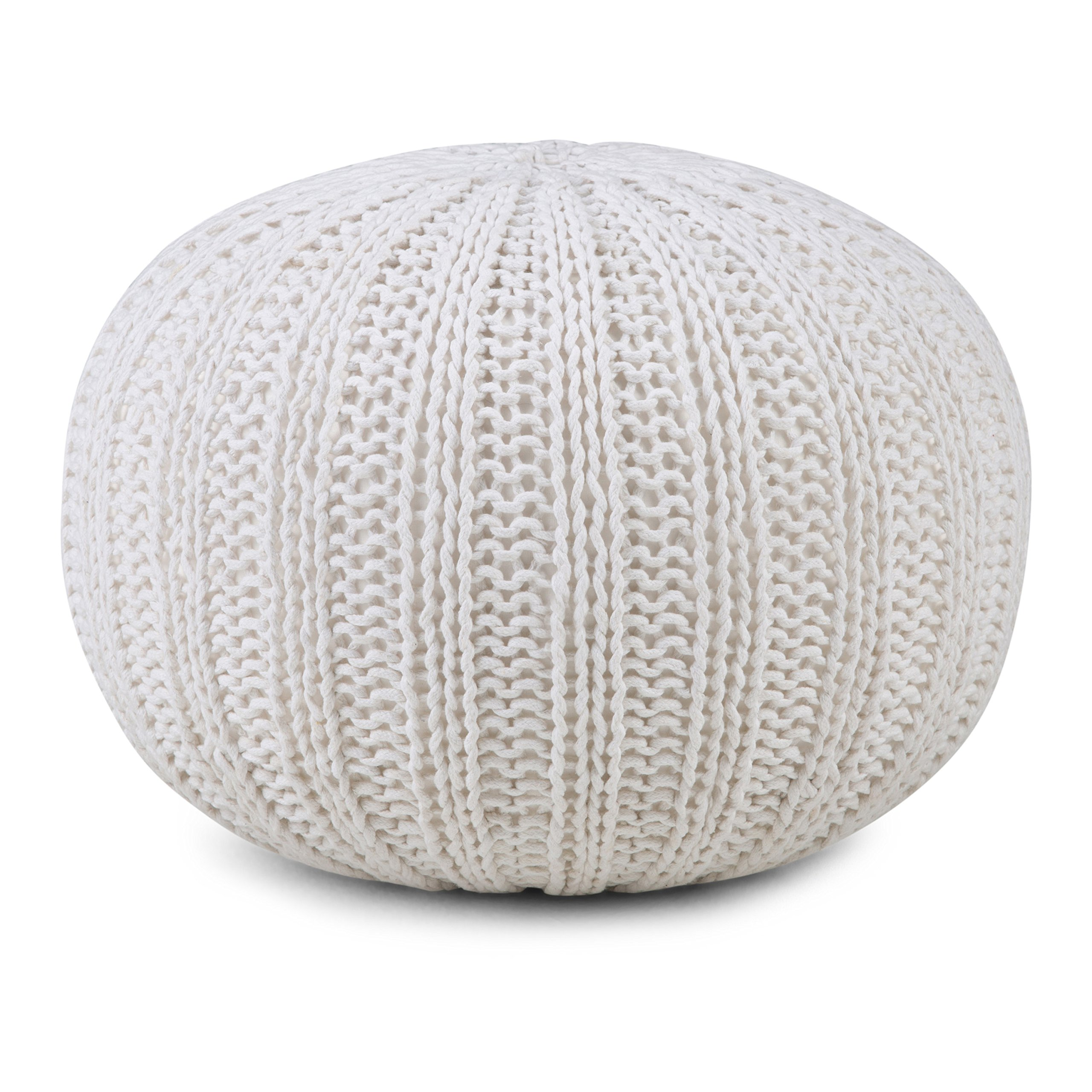 Simpli Home Shelby Round Pouf, Cream by Simpli Home