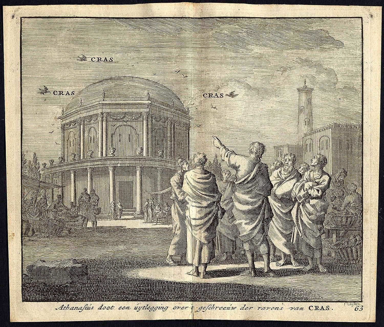 Antiguo ThePrintsCollector cruzerlite-Raven-cras-athanasius-Pl 63-Luyken-1740 Hogar y cocina