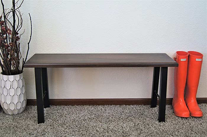 Enjoyable Amazon Com Wood Entryway Bench Black Metal Legs Walnut Pabps2019 Chair Design Images Pabps2019Com