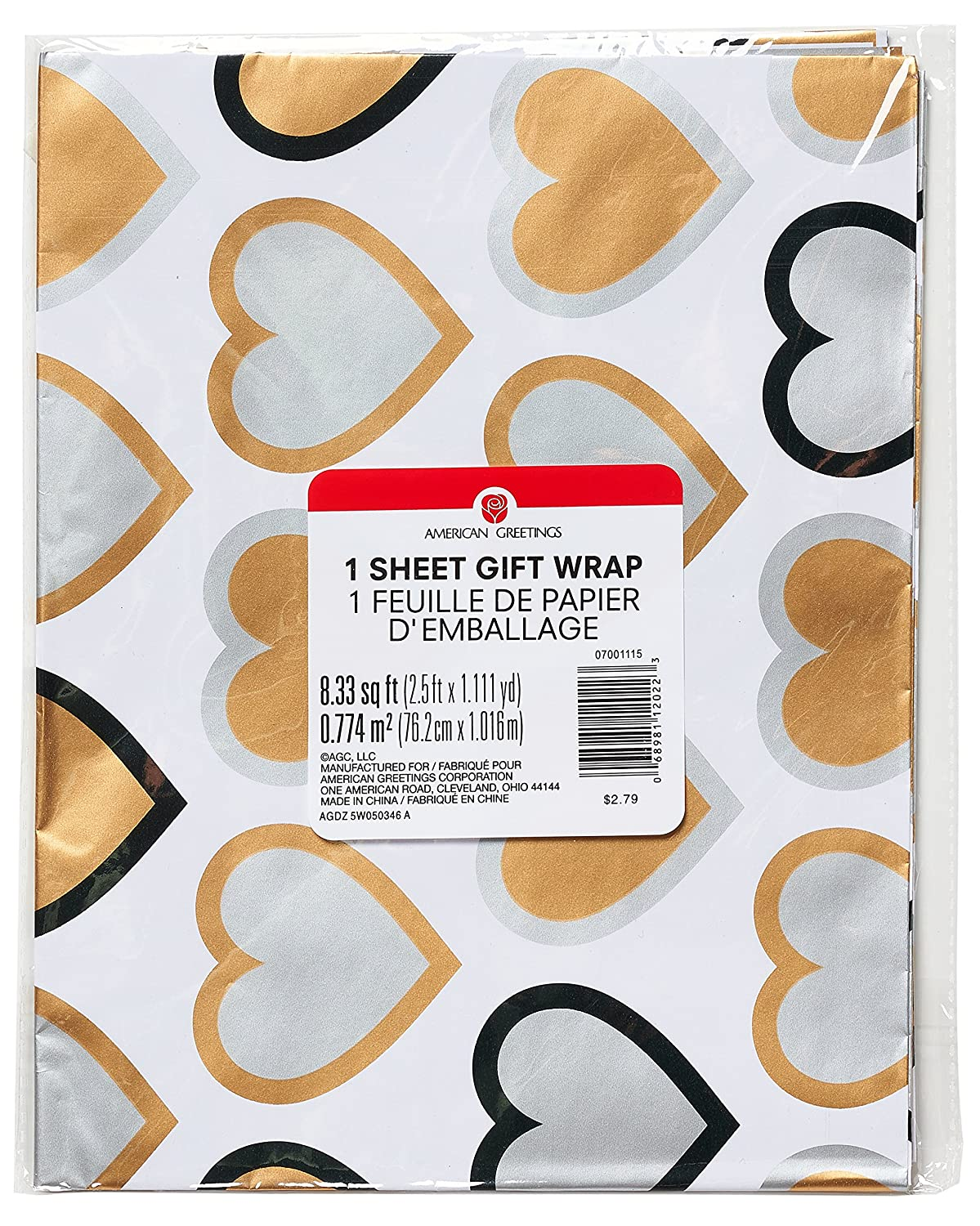 Amazon American Greetings Wedding Wrapping Paper Gold Silver
